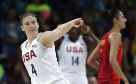 United States' Lindsay Whalen celebrates a score against Spain during a women's gold medal basketball game at the 2016 Summer Olympics in Rio de Janeiro, Brazil, Saturday, Aug. 20, 2016. (AP Photo/Eric Gay)