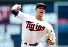 Minnesota Twins pitcher Jose Berrios throws against the Detroit Tigers in the first inning of a baseball game Thursday, Aug. 25, 2016, in Minneapolis. (AP Photo/Jim Mone)