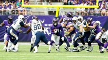 Minnesota Vikings running back Jerick McKinnon (21) runs up field during the first half of an NFL preseason football game against the San Diego Chargers Sunday, Aug. 28, 2016, in Minneapolis. (AP Photo/Jim Mone)