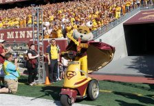 Minnesota mascot Goldy Gopher takes the field before the first half of an NCAA college football game against Ohio in Minneapolis Saturday, Sept. 26, 2015. (AP Photo/Ann Heisenfelt)