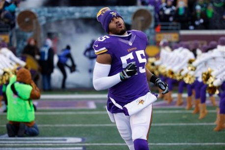 Minnesota Vikings linebacker Anthony Barr (55) is introduced beforef an NFL wild-card football game against the Seattle Seahawks, Sunday, Jan. 10, 2016, in Minneapolis. (AP Photo/Jim Mone)