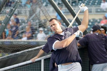 New York Yankees designated hitter Alex Rodriguez (13) warms up before a baseball game against the Minnesota Twins in Minneapolis, Friday, July 24, 2015. (AP Photo/Ann Heisenfelt)