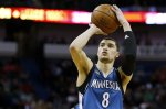Minnesota Timberwolves guard Zach LaVine (8) shoots the ball during the second half of an NBA basketball game Saturday, Feb. 27, 2016, in New Orleans. The Timberwolves won 112-110. (AP Photo/Jonathan Bachman)
