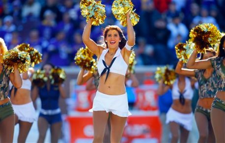 A Minnesota Vikings cheerleader cheers during pre-game ceremony before an NFL football game Sunday, Nov. 8, 2015, in Minneapolis. The Vikings won in overtime, 21-18.  (Jeff Haynes/AP Images for Panini)