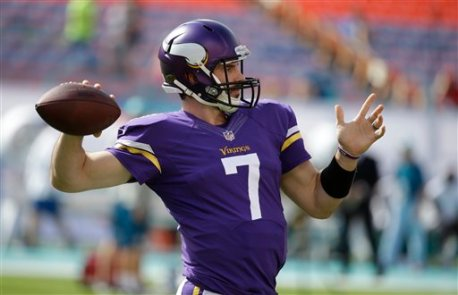 Minnesota Vikings quarterback Christian Ponder (7) warms up before an NFL football game against the Miami Dolphins, Sunday, Dec. 21, 2014, in Miami Gardens, Fla. (AP Photo/Lynne Sladky)