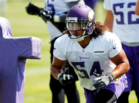 Minnesota Vikings middle linebacker Eric Kendricks (54) during the team's NFL football training camp at Mankato State University in Mankato, Minn. on Saturday, July, 30, 2016.(AP Photo/Andy Clayton-King)