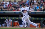 Minnesota Twins' Brian Dozier bats against the Tampa Bay Rays in the eighth inning of a baseball game Sunday, June 5, 2016, in Minneapolis. The Rays won 7-5. (AP Photo/Bruce Kluckhohn)