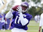 Minnesota Vikings wide receiver Laquon Treadwell (11) during the second day of the team's NFL football training camp at Mankato State University in Mankato, Minn. on Saturday, July, 30, 2016.(AP Photo/Andy Clayton-King)
