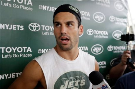 New York Jets wide receiver Eric Decker talks to reporters during NFL football training camp, Thursday, July 28, 2016, in Florham Park, N.J. (AP Photo/Julio Cortez)