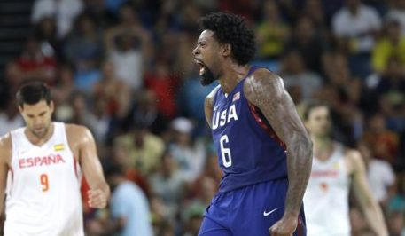 United States' DeAndre Jordan (6) celebrates a play against Spain during a men's semifinal round basketball game at the 2016 Summer Olympics in Rio de Janeiro, Brazil, Friday, Aug. 19, 2016. (AP Photo/Eric Gay)