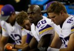 Minnesota Vikings running back Adrian Peterson (28) sits on the bench during a preseason NFL football game, Thursday, Aug. 18, 2016, in Seattle. (AP Photo/John Froschauer)