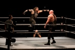 WWE wrestler Roman Reigns, center, fights against Big Show during WWE Live India Tour, in New Delhi, Friday, Jan. 15, 2016. WWE returned to Indian after a gap of 13 years to entertain their fans. (AP Photo/Manish Swarup)