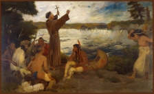 Father Hennepin at the Falls of St. Anthony, by Douglas Volk.   Painting in the Governor's Reception Room, Minnesota State Capitol. Painter:  Douglas Volk (1856-1935)  Date:  ca. 1905  Medium: Photograph Primary Subject: Minnesota. Capitol (3rd). Interior. Governor's Reception Room and Office. Subject: Hennepin, Louis. Subject: Minneapolis. St. Anthony Falls. To 1868. Subject: Minnesota. Capitol (3rd). Interior. Art.