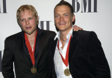 3 Doors Down's Brad Arnold, right, and Matt Roberts arrive at the BMI Pop Music Awards in Beverly Hills, Calif., Tuesday, May 17, 2005. (AP Photo/Matt Sayles)