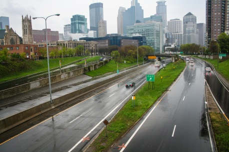 Minneapolis skyline streets