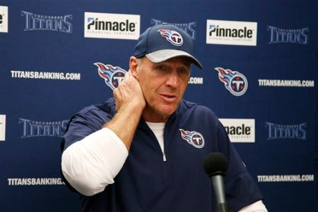 Tennessee Titans head coach Mike Mularkey answers questions during a news conference after an NFL preseason football game against the Oakland Raiders Saturday, Aug. 27, 2016, in Oakland, Calif. Tennessee won the game 27-14. (AP Photo/Tony Avelar)