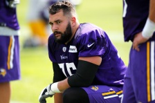 Minnesota Vikings tackle Alex Boone (75) attends  the second day of the team's NFL football training camp at Mankato State University in Mankato, Minn. on Saturday, July, 30, 2016. (AP Photo/Andy Clayton-King)