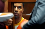 FILE - In this March 14, 2014, file photo, Darren Sharper appears in Los Angeles Superior Court in Los Angeles. Former NFL star Darren Sharper has been sentenced to 18 years in prison in a case where he was accused of drugging and raping as many as 16 women in four states. Judge Jane Triche Milazzo sentenced Sharper on Thursday, Aug. 18, 2016, in New Orleans.  (AP Photo/Los Angeles Times, Wally Skalij, Pool, File