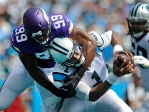Carolina Panthers' Cam Newton (1) is sacked in the end zone for a safety by Minnesota Vikings' Danielle Hunter (99) in the first half of an NFL football game in Charlotte, N.C., Sunday, Sept. 25, 2016. (AP Photo/Mike McCarn)