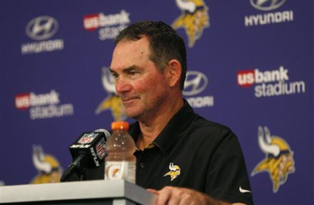Minnesota Vikings head coach Mike Zimmer speaks during a news conference after an NFL football game against the Green Bay Packers Sunday, Sept. 18, 2016, in Minneapolis. The Vikings won 17-14. (AP Photo/Jim Mone)