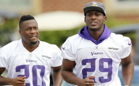 Minnesota Vikings cornerback Xavier Rhodes (29) Minnesota Vikings cornerback Mackensie Alexander and during the first day of the team's NFL football training camp at Mankato State University in Mankato, Minn. on Friday, July, 29, 2016.(AP Photo/Andy Clayton-King)