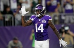 Minnesota Vikings wide receiver Stefon Diggs celebrates after catching a touchdown pass during the second half of an NFL football game against the Green Bay Packers Sunday, Sept. 18, 2016, in Minneapolis. (AP Photo/Andy Clayton-King)