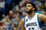 Minnesota Timberwolves' Karl-Anthony Towns plays against the Detroit Pistons in the first quarter of an NBA basketball game, Friday, Nov. 20, 2015, in Minneapolis. (AP Photo/Jim Mone)