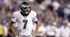 FILE - In this Saturday, Aug. 27, 2016, file photo, Philadelphia Eagles quarterback Sam Bradford watches during the second half of an NFL preseason football game against the Indianapolis Colts in Indianapolis. The Eagles traded Bradford Saturday, Sept. 3, 2016, to the Minnesota Vikings for a pair of draft picks. Bradford replaces Teddy Bridgewater, who went down for the season after suffering a gruesome knee injury this week. The Eagles receive a first-round pick in 2017 and a fourth-round pick in 2018. (AP Photo/Darron Cummings, File)
