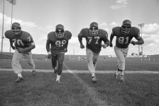 The powerful defensive front four of the Vikings (1-r: Jim Marshall, Alan Page, Gary Larson, Carl Eller), rated one of the best in the NFL, practiced Sept. 16, 1971in Minneapolis, in preparation for next Monday's season opener against Detroit,. (AP Photo)