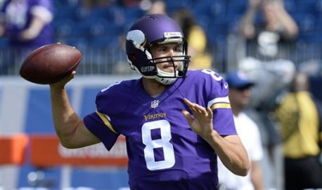 Minnesota Vikings quarterback Sam Bradford warms up before an NFL football game against the Tennessee Titans Sunday, Sept. 11, 2016, in Nashville, Tenn. (AP Photo/Mark Zaleski)