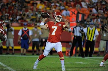 Kansas City Chiefs quarterback Aaron Murray (7) throws during the second half of an NFL preseason football game against the Green Bay Packers in Kansas City, Mo., Thursday, Sept. 1, 2016. (AP Photo/Ed Zurga)