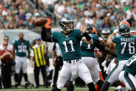 Philadelphia Eagles quarterback Carson Wentz in action during the first half of an NFL football game against the Cleveland Browns, Sunday, Sept. 11, 2016, in Philadelphia. (AP Photo/Matt Rourke)