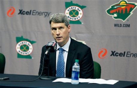 Minnesota Wild general manager Chuck Fletcher is pictured during his introduction of Bruce Boudreau as the new Wild head coach during a news conference by the NHL hockey team Tuesday, May 10, 2016, in St. Paul, Minn.  (AP Photo/Jim Mone)