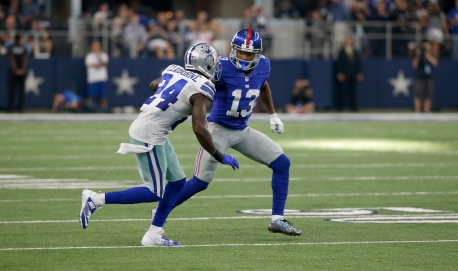 Dallas Cowboys cornerback Morris Claiborne (24) defends New York Giants wide receiver Odell Beckham (13) during an NFL football game, Sunday, Sept. 11, 2016, in Arlington, Texas. (AP Photo/Michael Ainsworth)