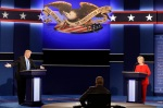 Republican presidential nominee Donald Trump answers a question as Democratic presidential nominee Hillary Clinton listens during the presidential debate at Hofstra University in Hempstead, N.Y., Monday, Sept. 26, 2016. (AP Photo/David Goldman)